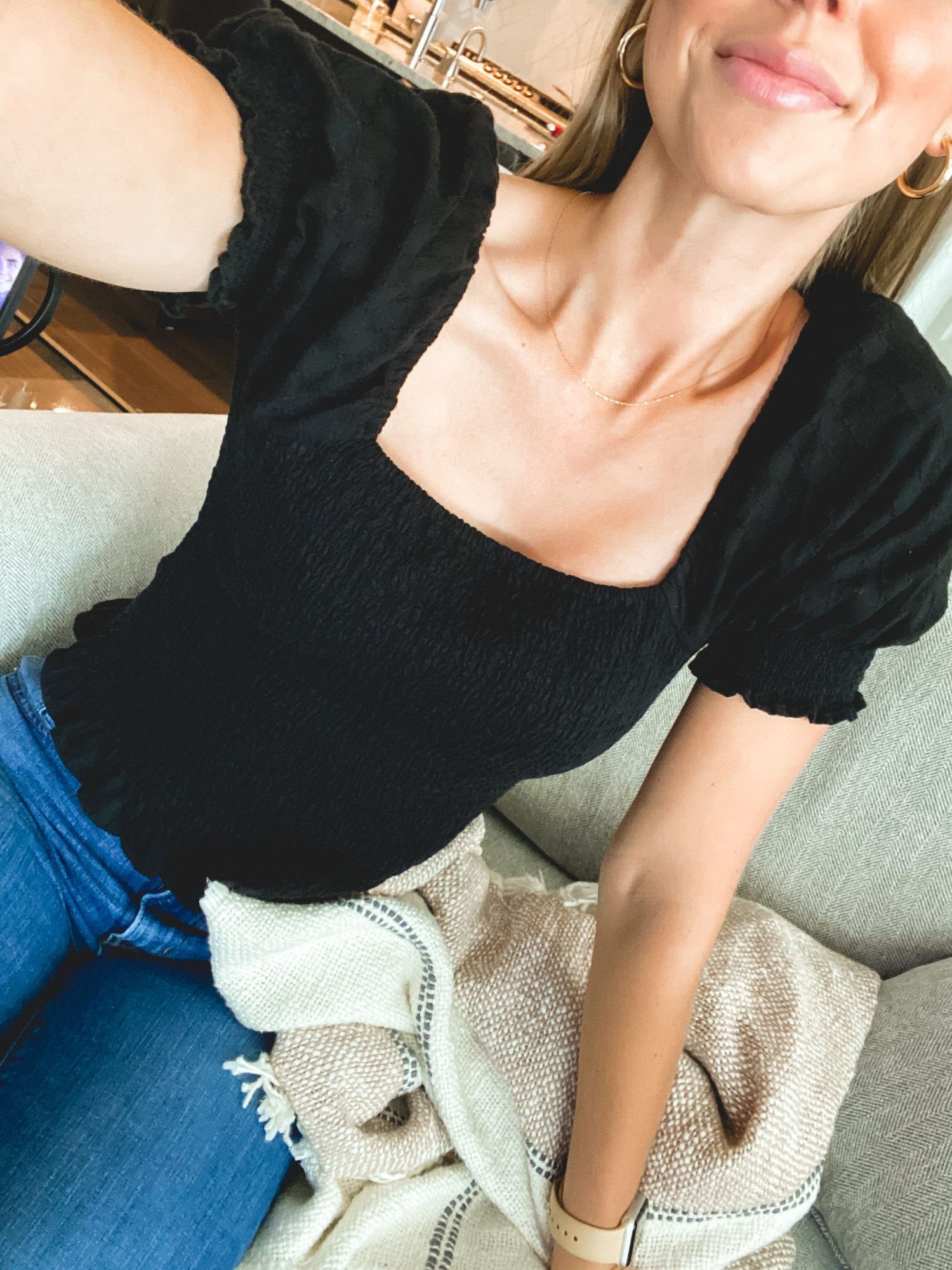 smocked top from madewell